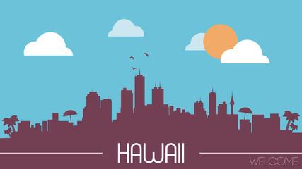 Hawaii skyline silhouette flat design vector illustration