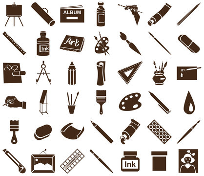 attributes of art icons on white