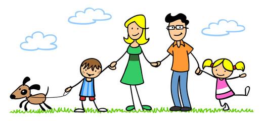 Familie mit Hund und Kindern im Garten