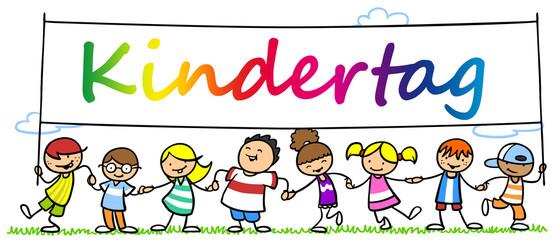 Viele Kinder feiern Kindertag zusammen
