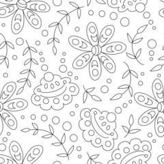 Flower line vector seamless pattern