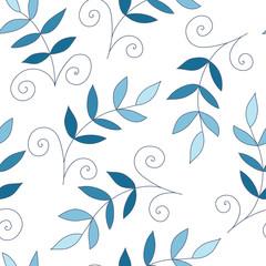 Leaf blue vector seamless pattern