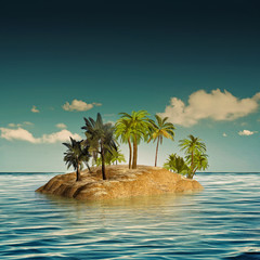 Keuken foto achterwand Eiland beauty island in the sea, abstract travel backgrounds