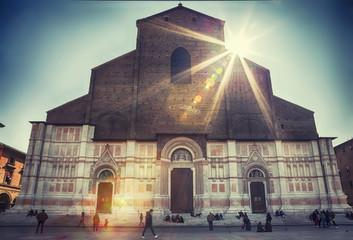 Foto op Textielframe Artistiek mon. The Basilica of San Petronio , Piazza Maggiore, in Bologna.