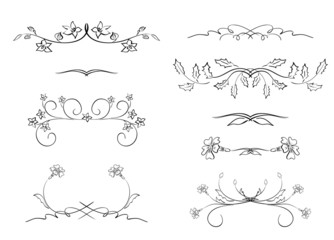 black floral dividers - vector set