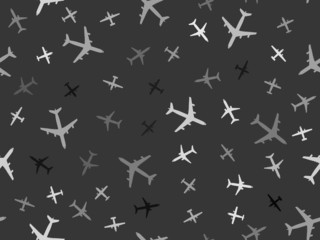 Grayscale seamless pattern with airplanes.