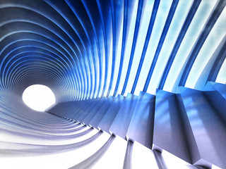 tunnel staircase way with futuristic construction around