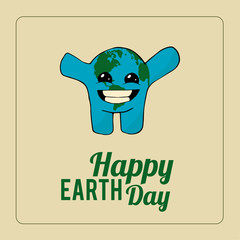 Earth Day, happy planet over color background