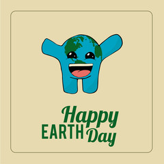 Earth Day, excited blue planet over color background