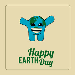 Earth Day, planet with emotion over color background