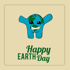 Earth Day, smiling blue planet over color background