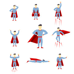 Superhero comic book style page cartoon pose collection
