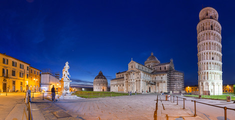 Panorama of Piazza dei Miracoli with Leaning Tower of Pisa