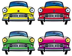 Four colored old cars
