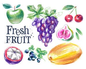 fresh fruit vector logo design template. ripe food or harvest