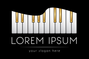 Logo template, music, piano keys, vector