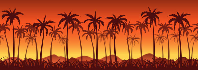 Tropical sunset with palm trees, seamless background