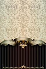 Wall Mural - Vintage background with damask patterns and ribbon.