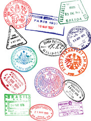 Travel Passport Stamps (Vector)