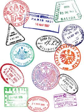 Travel Passport Stamps (Vector)