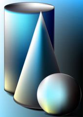 Ball,cone,cylinder