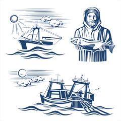 Fishing industry design elements. Vector set.