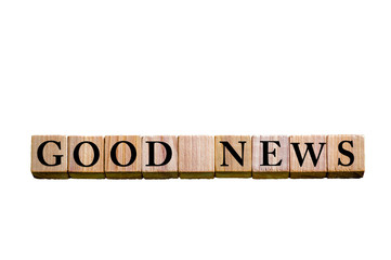 Message GOOD NEWS isolated on white background