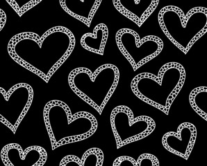 Valentine vector seamless pattern with ornamental hearts