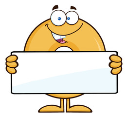 Donut Cartoon Character Holding a Blank Sign