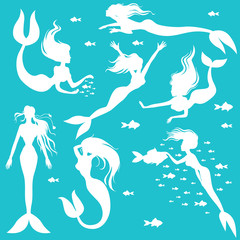 Set white silhouettes mermaids on turquoise background