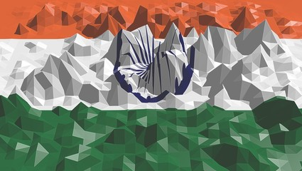 india national flag on low poly surface