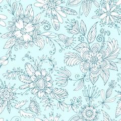 Sky blue seamless flower pattern