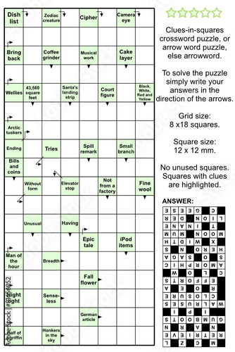 arrowword clues in squares crossword puzzle