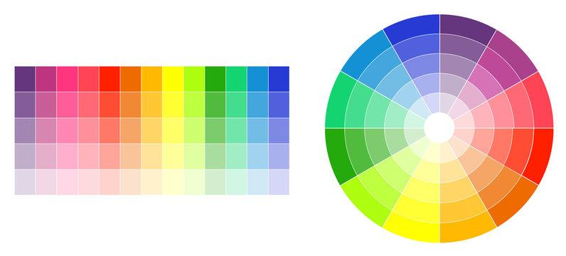 Color wheel and palette on white illustration