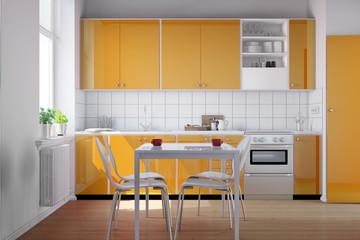 Küche mit Küchenzeile in orange