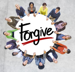 Diverse People Holding Hands Forgive Concept