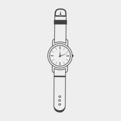 Wristwatch icon. Outline on a white background