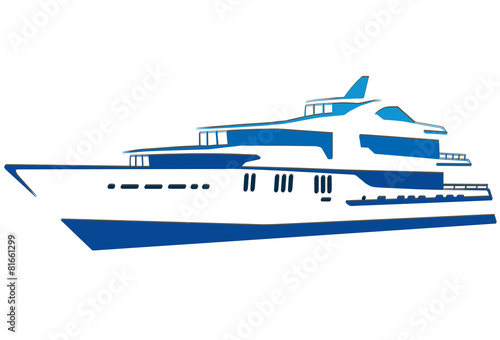 Blue silhouette of the yacht  Ship