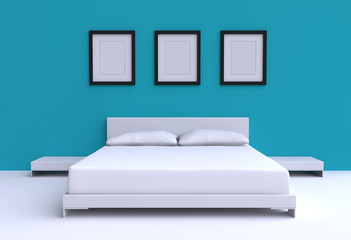 Modern bed with two pillows