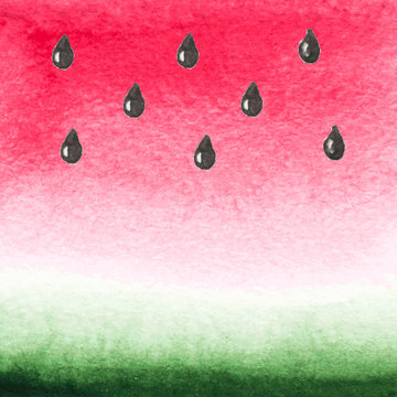 Vector watercolor background. The texture of the watermelon.