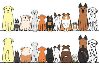 犬 一列 正面 背面 コピースペース セット