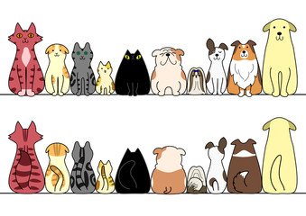 犬 猫 一列 正面 背面 コピースペース セット