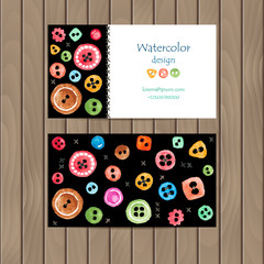 Vector business card with colorful watercolor buttons on wood