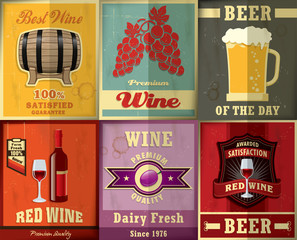 Vintage Wine & Beer poster design set