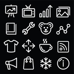 Web white navigation line icons set - photo gallery