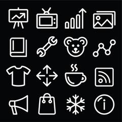Web white navigation line icons set - photo gallery