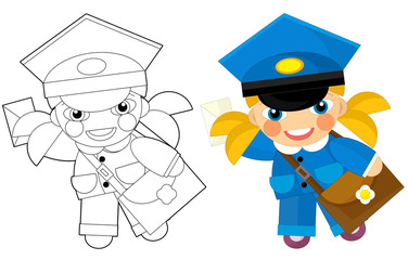 Cartoon character - postman girl - coloring page