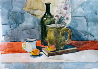 Still life, watercolor drawing