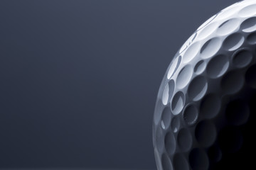 Poster Golf Stylish golf ball isolated on empty dark blue background.