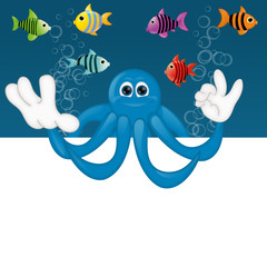 Funny octopus cartoon illustration under water fish fishes squid
